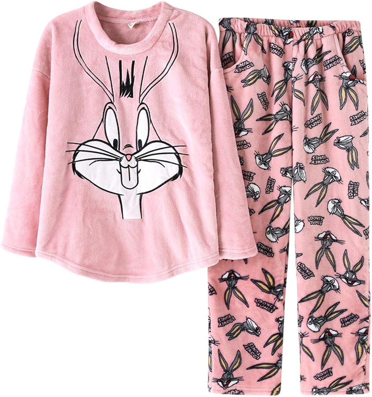 Tempatation Womens Soft Pajamas Sets Winter Fleece Sleepwear Long Sleeve Pants