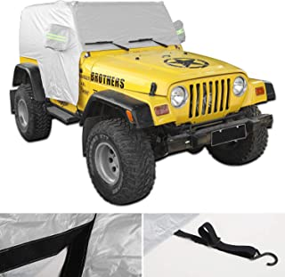 JeCar Waterproof Car Cover, Indoor Outdoor All Weather Tail Cover UV Protection for 1997-2006 Jeep Wrangler TJ LJ, Exterio...