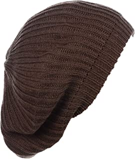BYOS Ladies Winter Solid Chic Slouchy Ribbed Crochet Knit Beret Beanie Hat W/WO Flower Adornment