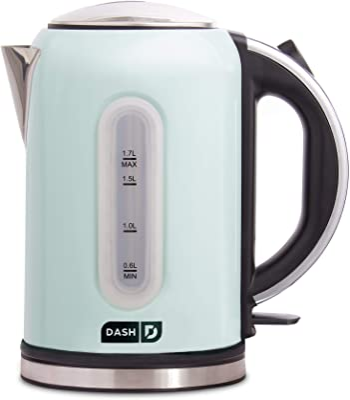 DASH DEK001AQ Electric Kettle + Water Heater with Rapid Boil, Cool Touch Handle, Cordless Carafe, No Drip Spout + Auto Shut Off For Coffee, Tea, Espresso & More, 57 oz/ 1.7 L - Aqua