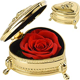 Smiley Preserved Fresh Flower Eternity Rose, Forever Gift for Her,Wife, Mom, Fiancée On Anniversary, Birthday, Valentine's Day, Mother's Day Christmas Day (Gold & Red)