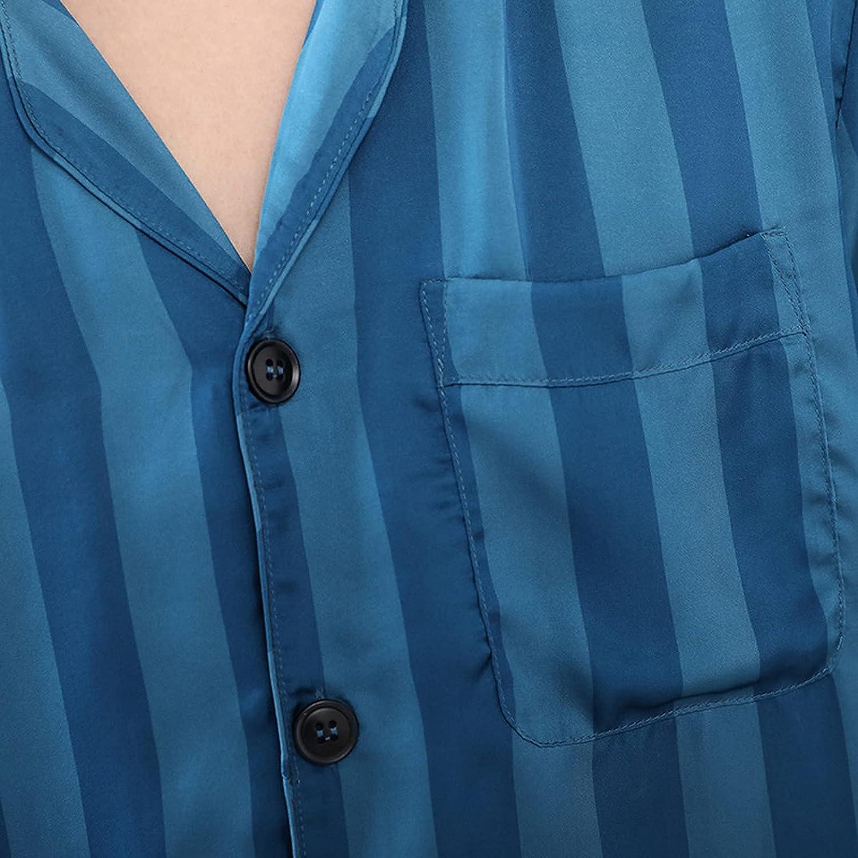 FMOGG Men Ice Silk Pajamas Spring Summer Plus Size Pajama Sets Male Comfortable Sleepwear