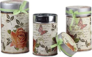 Northlight Set of 3 Vintage Spring Rose and Butterfly Stackable Metal Canisters 7.5