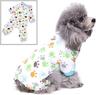 SELMAI Dog Pajamas Cat Pjs Sleepwear Breathable Soft Cotton Elastic Cat Apparel Pet Costume Paw Pattern Onesies for Small Puppy Girls Shirts Doggies Jumpsuit Easy on Spring Summer Autumn Clothes