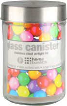 Home Basics Medium 40 oz. Round Glass Canister Jar Container Fresh Sealed with Air-Tight Stainless-Steel Twist Top Lid for Kitchen Pantry Food Storage Organization, Clear