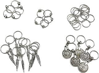 Hyamass 40pcs Antique Silver Ring Feather Coin Bead Charms Pendant Braid Hair Clip Headband Hair Accessories
