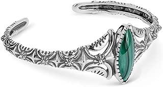 Brazalete texturizado con piedras preciosas de malaquita verde y plata esterlina del oeste americano Tamaño pequeño