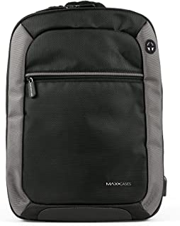 Max Cases Notebook Backpack - Travel Backpack with USB Charging Port & Headphones for Business and
