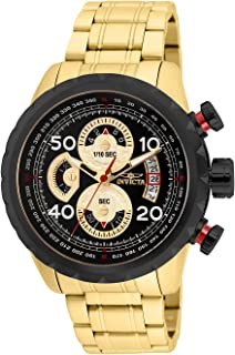 Invicta Men's Aviator Analog Quartz Watch with Stainless Steel Strap, Gold, 24 (Model: 28151