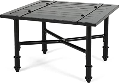 Christopher Knight Home Francis Outdoor Aluminum Side Table, Matte Black
