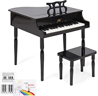 Best Choice Products Kids Classic Wood 30-Key Mini Grand Piano Musical Instrument Toy w/ Bench, Sheet Music Rack - Black