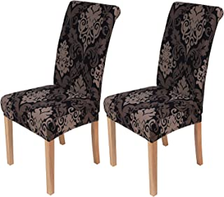 Best smiry 2 Pack Printed Dining Chair Covers, Stretch Spandex Removable Washable Dining Chair Protector Slipcovers for Home, Kitchen, Party, Restaurant (Black with Brown) Review