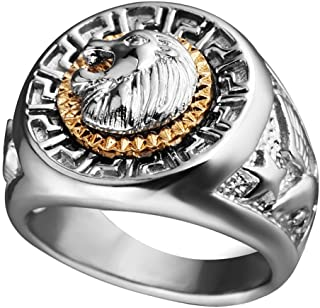 YBMEN Jewellery Ring Ring Titanium Men Stainless Steel Polished Gold Ring Cat Eye Stone Mens Ring Band