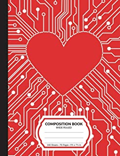 Composition Book: Network Heart Wide Ruled Blank Lined Writing Notebook   School Exercise Book For Assignments, Studying, or Notes
