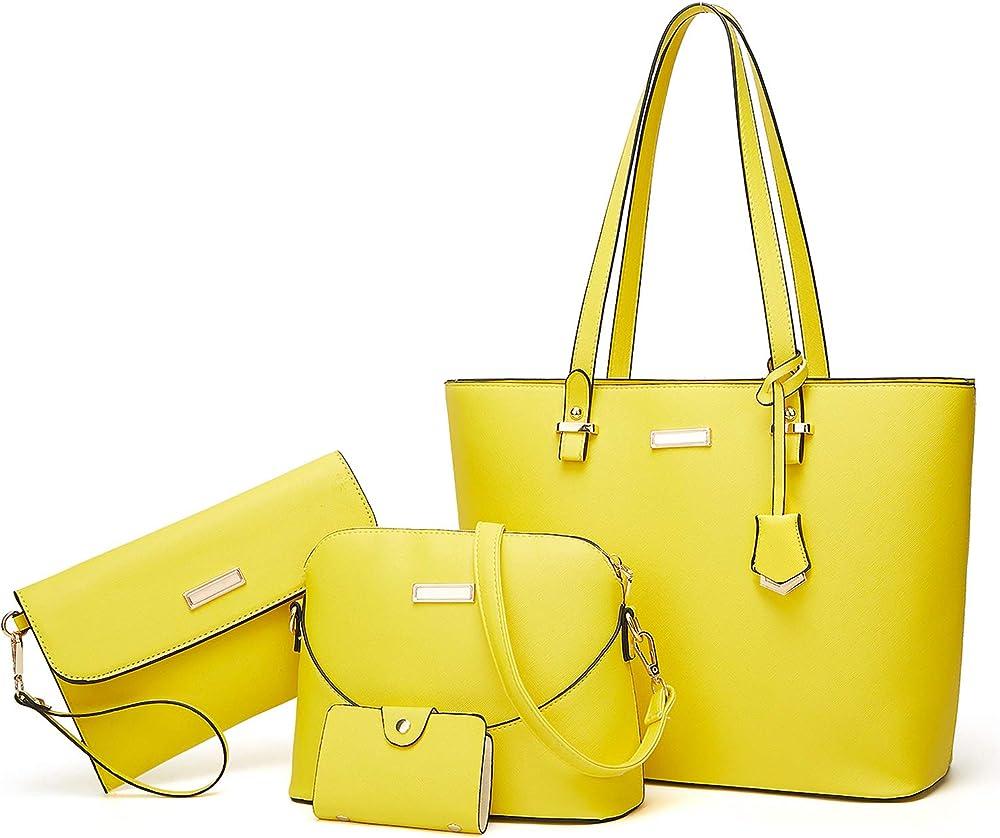 Tcife, borsa multiuso, tote, tracolla, pochette, da donna, in pelle sintetica NJSB00039EU-Yellow