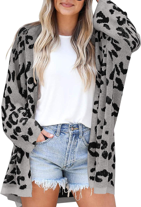 LAICIGO Women's Leopard Fashion Chunky Knit Open Rare Sl Cardigans Long Front