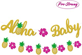 Aloha Baby Banner Pineapple Flower Garland Hawaiian Baby Shower Decorations Summer New Baby Announcement Tropical Pineapple Baby Sprinkle Decor Luau Gender Neutral Shower Supplies