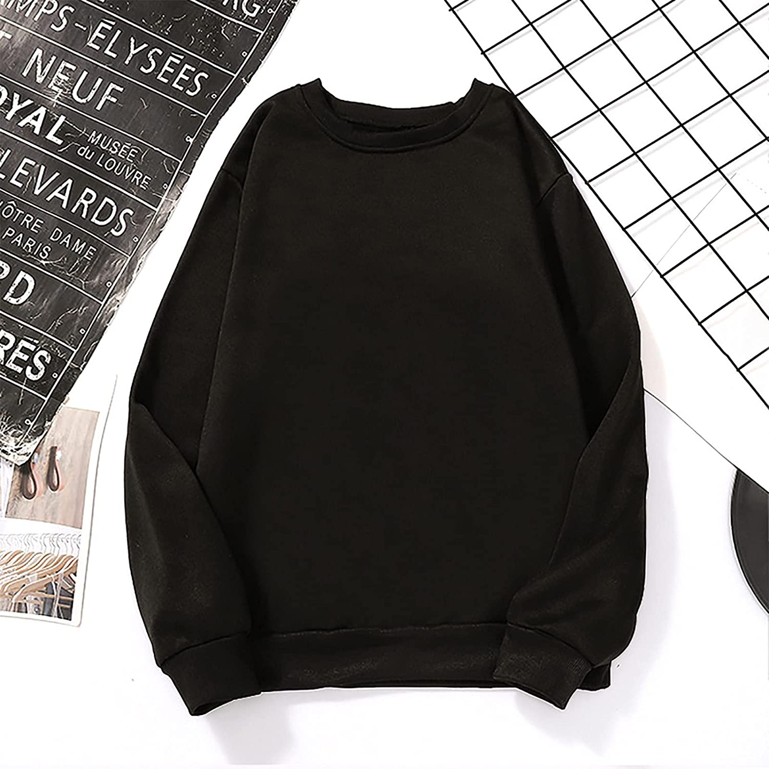 Autumn Sweatershirt for Women Home Casual Long Sleeve Basic Jumper Tops Round Loose Fit Neck Solid Pullover