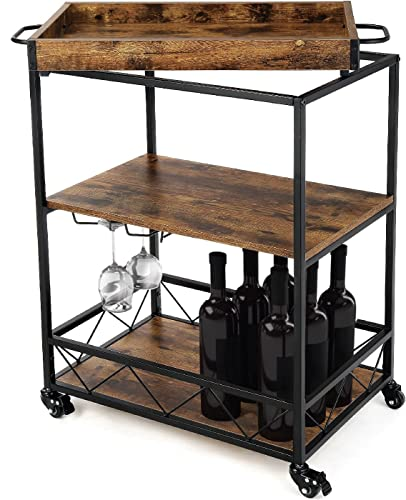 high quality Landia Home Bar Cart for the Home – Includes Serving Tray, Wine Glass Holders, Rolling discount Wheels, and Shelf new arrival for Bar Accessories Storage online sale