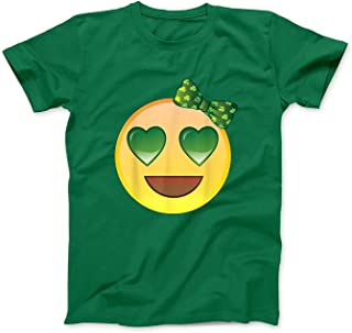 Saint Patrick's Day Toddler Girls Emoji with Bow T-Shirt