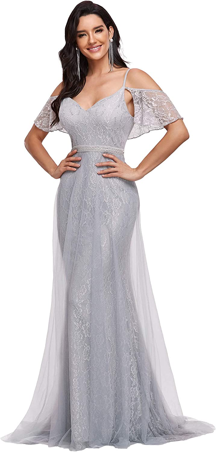 Ever-Pretty Women Flare Sleeve Off The Shoulder A Line Maxi Tulle Wedding Guest Dress 0154