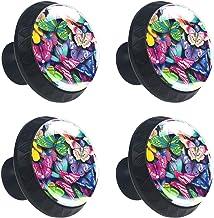 4 stuks lade knop kast kast handvat pull lade handvat met schroef,bloemen en vlinders