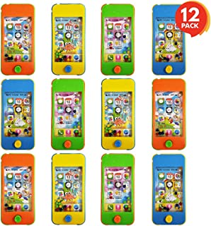 ArtCreativity 4 Inch Handheld Cell Phone Water Game for Kids - Set of 12 - Fun Cellphone Props for Pretend Play - Cool Birthday Party Favors, Goody Bag Fillers for Boys and Girls - Assorted Colors