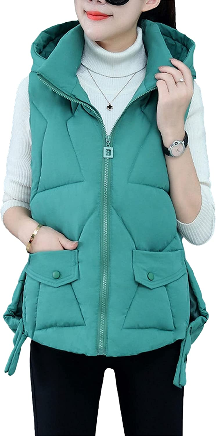 Zontroldy Womens Winter Sleeveless Zipper Hooded Coat Cotton Padded Quilted Puffer Vest Waistcoat Jacket