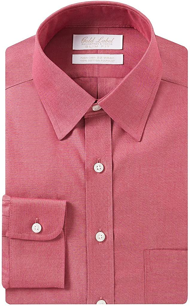 Gold Label Roundtree & Yorke Non Iron Slim Fit Point Collar Dress Shirt S75DG351 Red