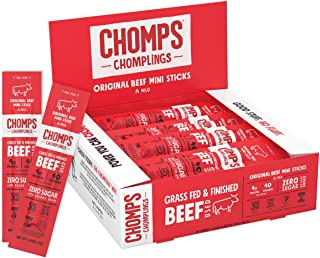 CHOMPS MINI Grass Fed Beef Jerky Meat Snack Sticks, Keto, Paleo, Whole30 Approved, Sugar Free, Low Carb, Nitrate Free, Glu...