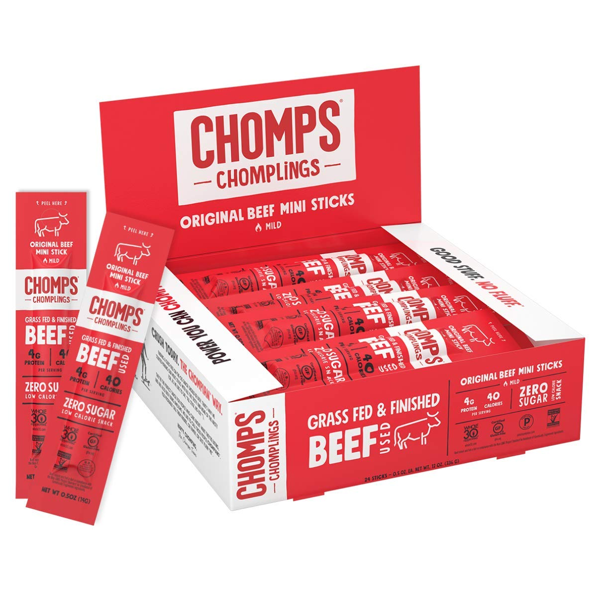 CHOMPS MINI Grass Direct store Popular shop is the lowest price challenge Fed Beef Jerky Keto Sticks Paleo Meat Snack