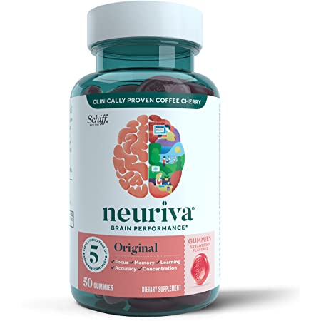 Neuriva Nootropic Brain Support Supplement - Original Strawberry Gummies (50 count in a bottle), Phosphatidylserine, Gluten Free, Vegetarian, Supports Focus Memory Concentration Learning and Accuracy