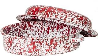 Enamelware Oval Covered Roaster, 3 quart, Red/White Splatter