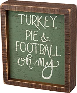 Primitives by Kathy Inset Box Sign Turkey Pie and Football Oh My