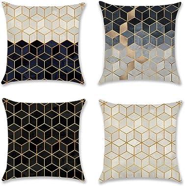 Artscope Lot DE 4 Housse De Coussin, Polyester et Lin Décoratif Taie d'oreiller Canapé Voiture Maison Décor Housses de Co
