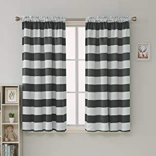Deconovo Gray Striped Room Darkening Window Curtains Thermal Insulated Grey and Greyish White Striped Curtains for Bedroom 42W X 63L Gray 2 Panels