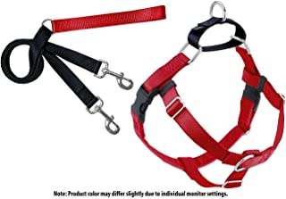2 Hounds Design Freedom No Pull Velvet Lined Dog Harness and Leash Training Package Red XL