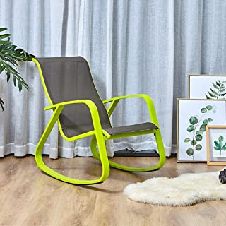 Grand Patio Modern Swing Rocking(Rock) Chair Glider with Lemon Green Aluminum Frame, Indoor Bedroom/Outside Style