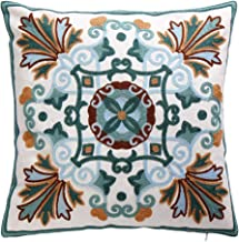 Oneslong Decorative Throw Pillows Covers Embroidered Cushion Cover Farmhouse Pillowcases Tapestry Style Home Decor for Couch Sofa Bed Living Room 18x18 Inch 100% Cotton