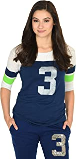 Lady 12 Seattle Football Gameday Jersey Shirt   #3 Glitter Printed ¾ Length Sleeve   Navy and Green