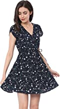 Allegra K Women's Boho Crossover V Neck Petal Sleeves Belted Floral Flowy Dress