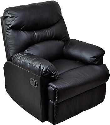 1P 1人用ソファ 1人掛けソファ リクライニング レザーソファ ブラック(黒) オットマン ホームシアターに最適 WZY-150-BK
