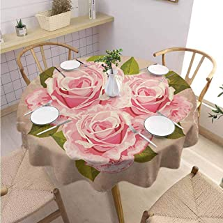 DILITECK Rose Decorative Round Tablecloth Pink Bouquet of Valentines Roses Retro Love Romance Theme Grunge Display Fabric Tablecloth Diameter 60