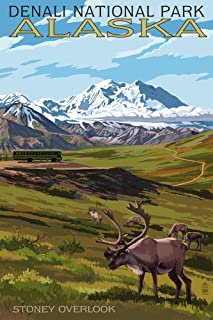 Denali National Park, Alaska - Caribou and Stoney Overlook (12x18 Art Print, Wall Decor Travel Poster)