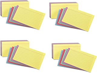 Oxford Oxford 40280 Rainbow Pack Index Card, 3 x 5, Ruled, 4 Pack of 100 Cards, 400 Cards Total