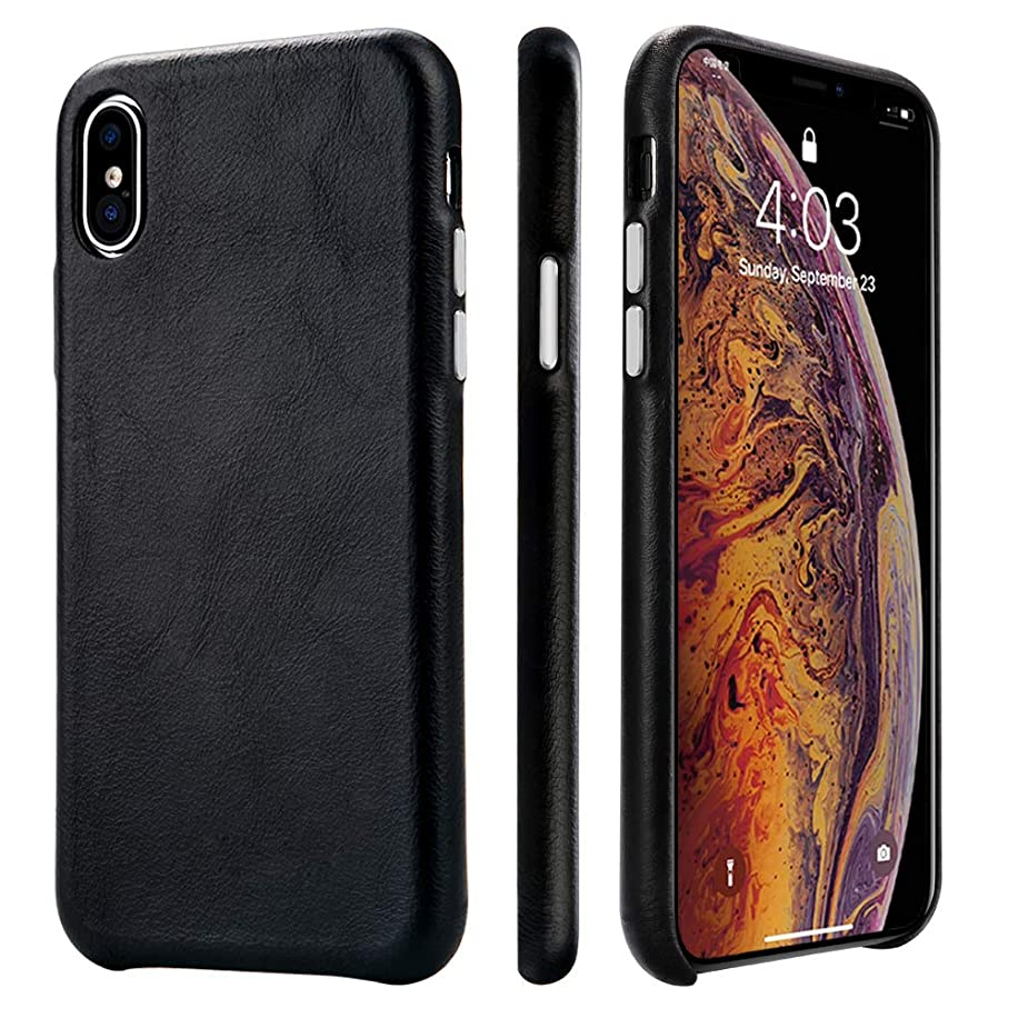 TOOVREN iPhone Xs Case, iPhone X/10 Case Genuine Leather Cover Case Protective Ultra Thin Anti-Slip Vintage Shell Hard Back Cover for Apple iPhone X/Xs 5.8'' (2018) Black