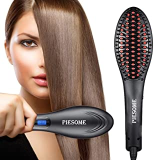 Piesome Hair Electric Comb Brush 3 in 1 Ceramic Fast Hair Straightener For Women's Hair Straightening Brush with LCD Screen, Temperature Control Display,Hair Straightener For Women (Black)