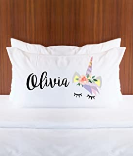 Personalized Unicorn Pillowcase with Name for Girls Bedroom Decor - Gift for Her Pillow Unicorn Magical Fairytale Room Decor