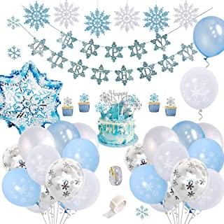 FUNCUBE Snowflake Birthday Party Decorations with Happy Birthday Banner, DIY Cake Toppers, Frozen Blue & White & Confetti ...
