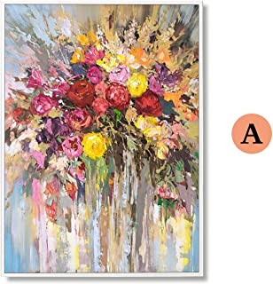 SHILINWEI 100% Hand Painted Abstract Flowers Art Oil Painting On Canvas Wall Art Wall Adornment Pictures Painting for Live Room Home Decor,(40X60cm) 16X24inch,A